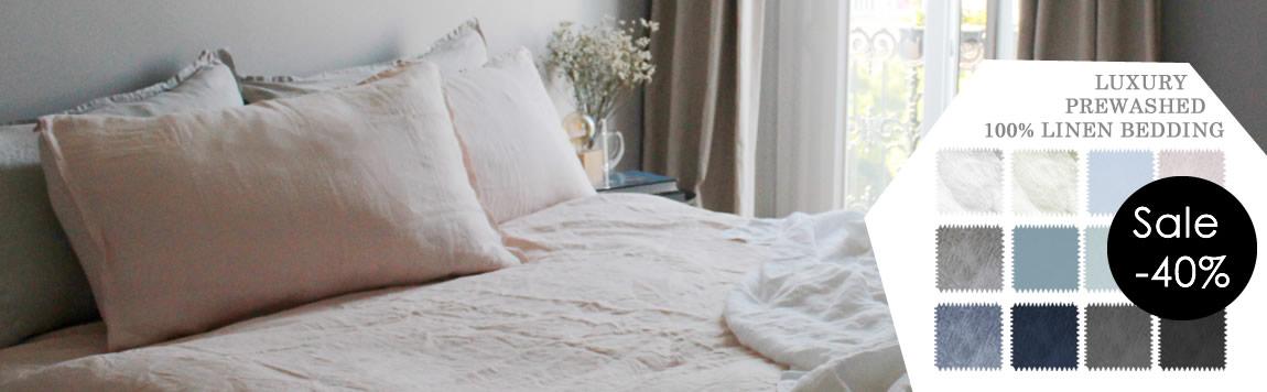 Linne Sängkläder av Ada & Ina - 40% rabatt, vackra färger att välja mellan!